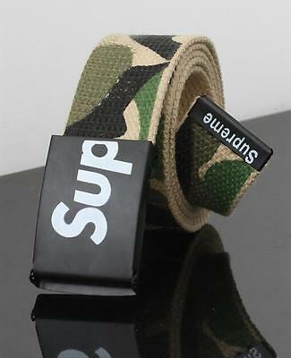 2017 New Design Popular Supreme Automatic Buckle and Canvas Belts for Men Green