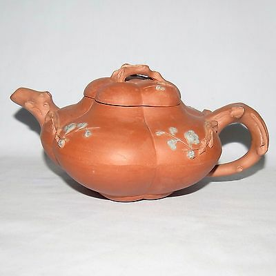 Chinese Terracotta Yixing Teapot decorated with Apple Blossoms