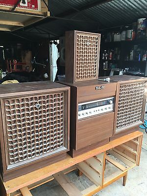 Old Vintage Sanyo Stereo Turntable Record Player Speakers Wooden Cabinet