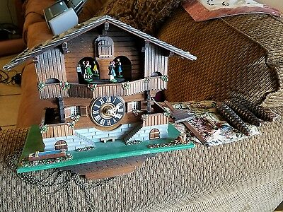 Black Forest Cuckoo Clock  Musical Dancing Figures Swiss movement