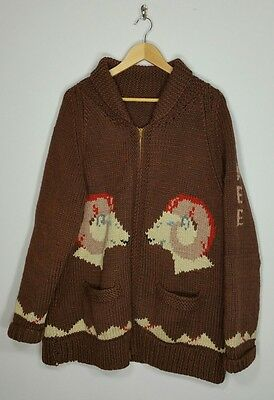 Vintage Hand Knit Zip Up Cowichan Sweater, Big Horn Sheep, Hunting XL/ 2XL