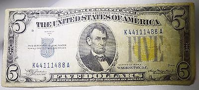 1934a Circulated Five Dollar $5 North Africa Silver Certificate War Note Free SH