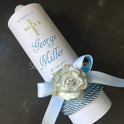 Personlised Christening Baptism Name Day Candle With Flower And Bow