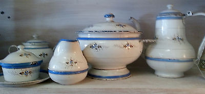 Unique Antique French Enamelware 8 piece Set circa 1890. French Provincial Chic