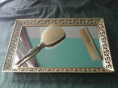 Vintage Metal Filigree Mirrored Tray 11x16 w/comb and brush