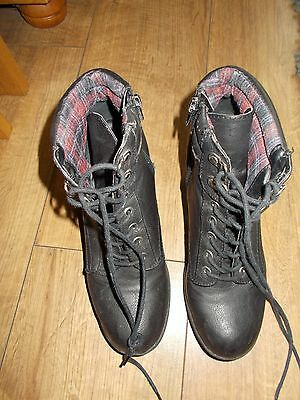 Ladies Black Call It Spring Lace up Boots - 5