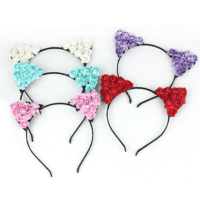 Women Girls Headband Floral Cat Ears Party Costume Head hair Band Accessory New
