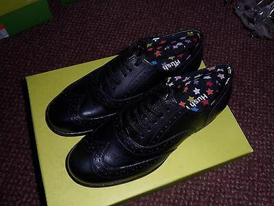 new Hush Puppies Girls black Leather Brogue School Shoes size 13 - new in box