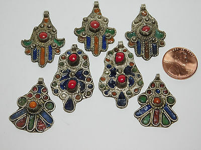 vintage 7 African Berber handmade used enameled assorted pendants from Morocco