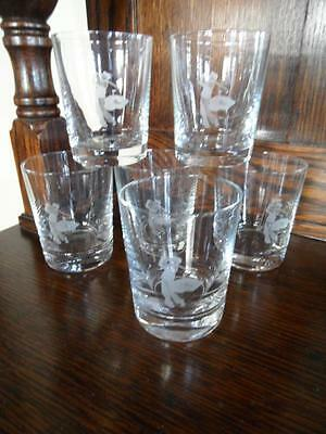 6 X Vintage Etched Golf Player Golfing Bar Man Cave Glasses Whisky Or Water