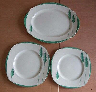 Lovely set of 3 Burleigh Ware 1930's Art Deco Hand Painted Ivory Plates in vgc