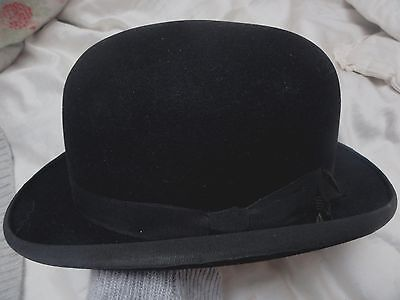 Vintage Original Black Bowler Hat Harrods Of London