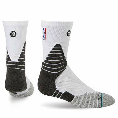 Stance NBA Official On-Court Solid Quarter Socks - White Size Large 8-13