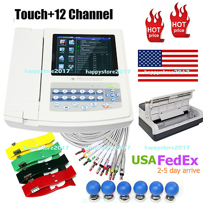 ECG1200G Digital 12 ECG/EKG ElectrocardiogTouch Screen,Printer 3 WARRANTY US CE