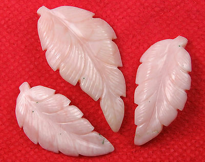 55 Cts Natural Pink Opal Carved Leaf Hand Crafted Leaves Carving 3 Pcs Set Lot