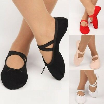 Dance Ballet Canvas & Leather Split Sole Shoes For Child to Adult Pointe Dance