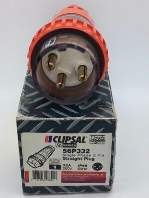 Clipsal 56P332 56P332EO Straight Plug 32A 3 Pin Round Pins Genuine Clipsal