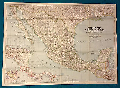"1953 National Geographic Map of Mexico and Central America Large Poster 37""x27"""