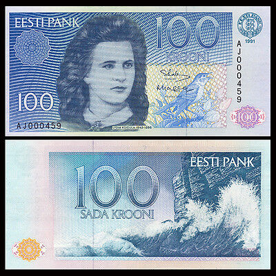 Estonia 100 Krooni, 1991, P-74, Low serial number, UNC
