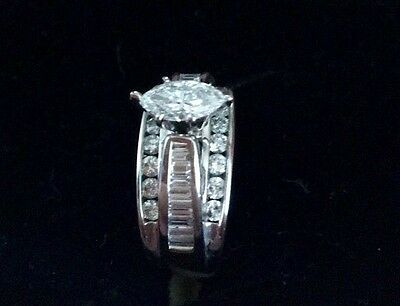 Diamond Engagement Ring 14k White Gold Marquise Cut Valuation Included $6100