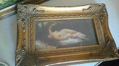 Antique Style Picture of a naked nude woman Repro Oil Painting Ornate Gilt Frame
