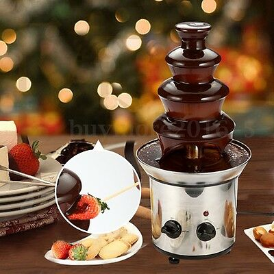 Chocolate Fondue Fountain Waterfall Melting Machine 4 Tiers Mini Stainless Steel