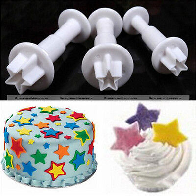 3pcs Mini Star Fondant Cake Decorating Plunger Biscuit Cookies Cutter Mold S1