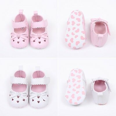 Baby Girl Toddler Infant Leather Shoes Soft Sole Prewalker Pink White 0-18Months