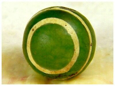 Rare Collection! Vintage Genuine jade Stone Etched Bulls Eye SE Asia Bead