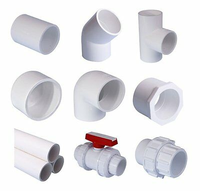 """White PVC Pool Pipe & Fittings. Imperial System: 1 1/2"""" (48.3mm) and 2"""" (60.3mm)"""