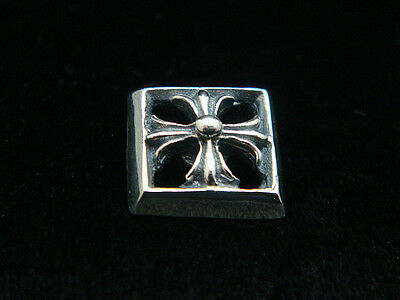Solid Sterling Silver Square Cross Button Concho Stud Leather Craft Biker Rocker