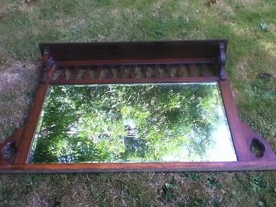Antique Original Arts and Crafts Oak Overmantle Mirror