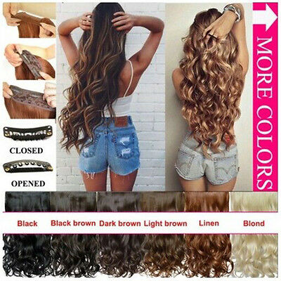 Synthetic Half Wig Clip In Hair Piece Wig Fall Long Wavy Curly Ombre 50-55cm