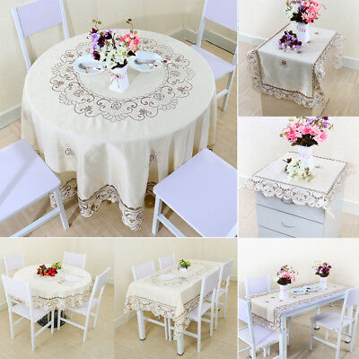 Light Beige Rose Flower Embroidered Lace Table Cover Tablecloth Placemats