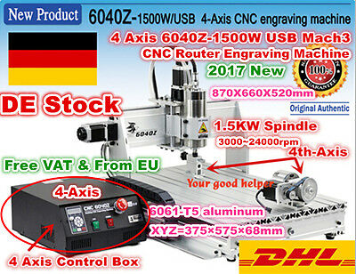 [DE Stock] 4 Axis MACH3 USB 1500W 6040 CNC Router Engraving Milling Machine 220V