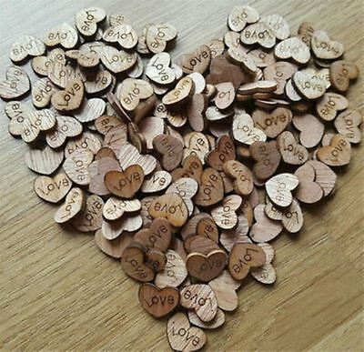 Romantic Rustic Wooden Love Heart Wedding Table Scatter Decoration Crafts