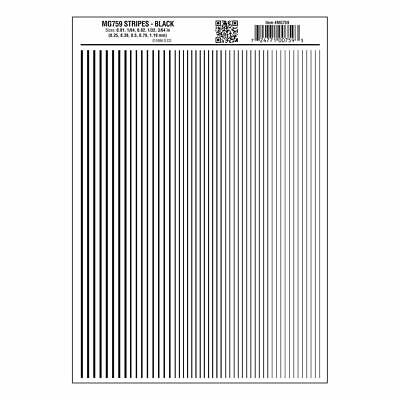 Stripes Black Dry transfer Sheet – Woodland Scenics MG759 - free post F1