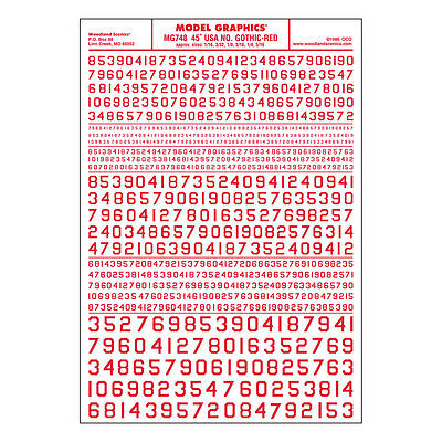 45 USA Gothic Numbers Red Dry transfer Sheet – Woodland Scenics MG748 – F1