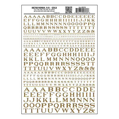 Roman RR Gold Dry transfer Sheet – Woodland Scenics MG703 - free post F1