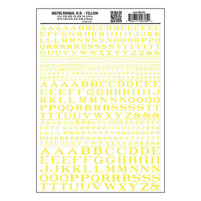 Roman RR Yellow Dry transfer Sheet – Woodland Scenics MG705 - free post F1