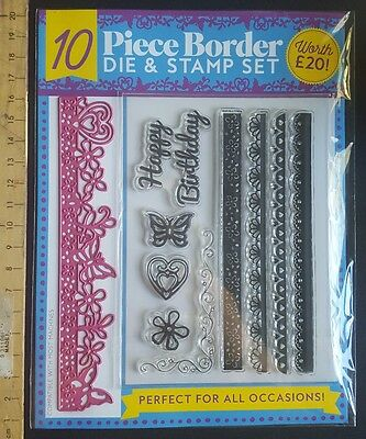 NEW 10pce Border Stamp and Die Set. Card making. Scrapbooking. BIRTHDAY #2