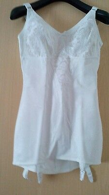 Vintage white corset with suspeners  size 36 D