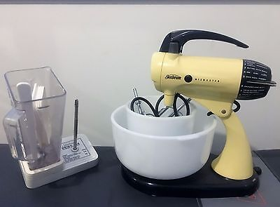 "Restored vintage retro Sunbeam Mixmaster A12 with ""Drink-Mix"" blender and bowls"