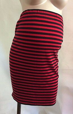 [517] Blooming Marvellous Maternity Red & Blue Striped Bodycon Skirt Size 12