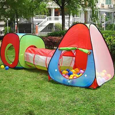 3In1 kids Toddler Indoor Outdoor Play House Tent Crawl Tunnel Pit Balls Pool CA