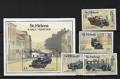 St Helena Sg553/6 + Ms537, 1989 Early Vehicles Mnh, Cat £15+