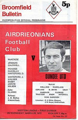 71/72 Airdrieonians v Dundee United - 29/03/72