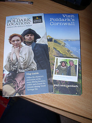 POLDARK FILMING LOCATIONS FOLD OUT MAP LEAFLETS X2   Aiden Turner