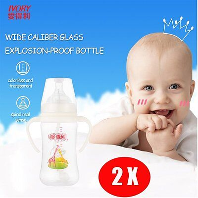 IVORY PP Baby Feeding Bottle With Straw/Handle Wide-neck Baby Bottles 240ml AU