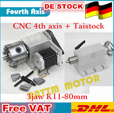 Rotation Fourth Axis K11-80mm CNC Router 4th Axis 3 Jaw Chuck&Tailstock DE SHIP